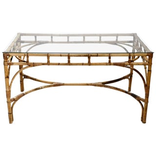 Hollywood Regency Rattan and Bamboo Table or Desk, 1970s For Sale