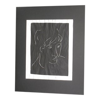 "Vintage Signed Linocut Female Portrait - ""Diane"" For Sale"