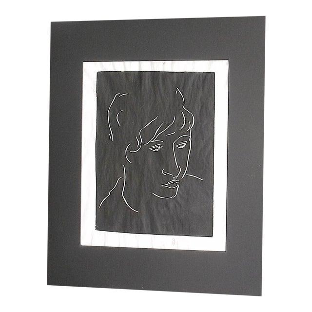 "Vintage Signed Linocut Female Portrait - ""Diane"" For Sale"