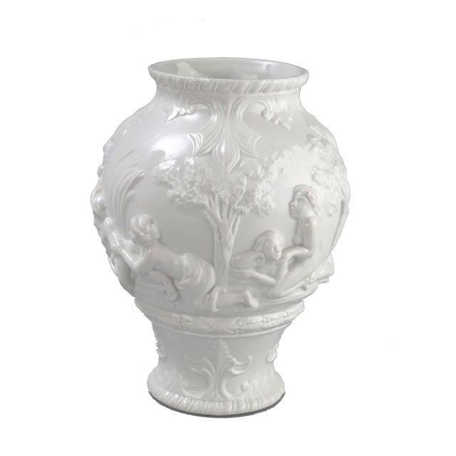 Luxury White Capodimonte Italian Porcelain Urn Decaso