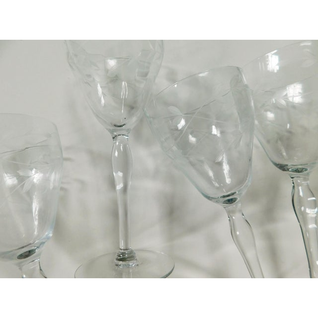 Etched Clear Wine Glasses - Set of 4 For Sale - Image 10 of 13