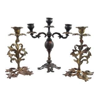 Brass & Iron Candlesticks - Set of 3
