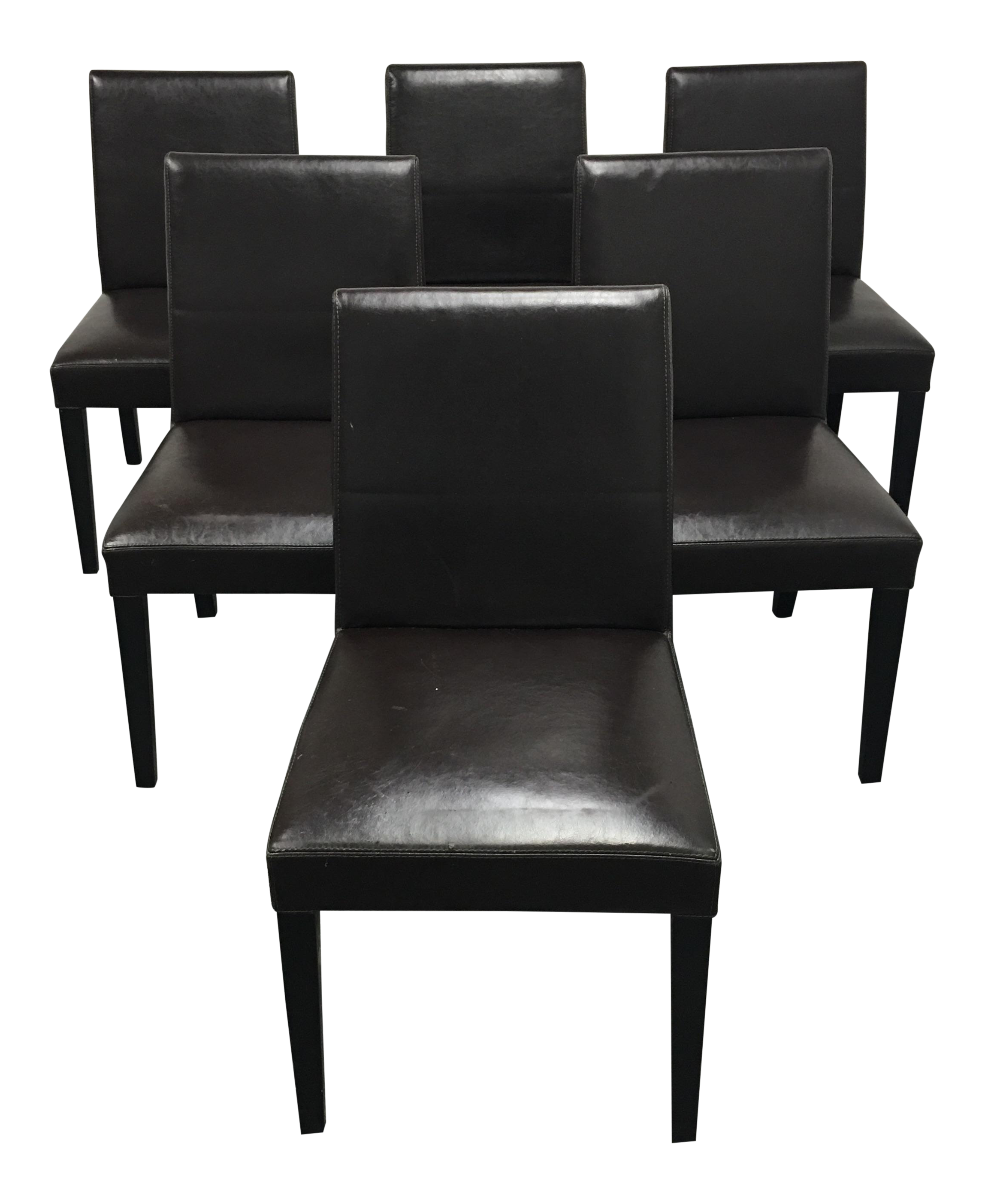 Charmant Crate U0026 Barrel Brown Leather Pullman Dining Chairs   Set Of 6