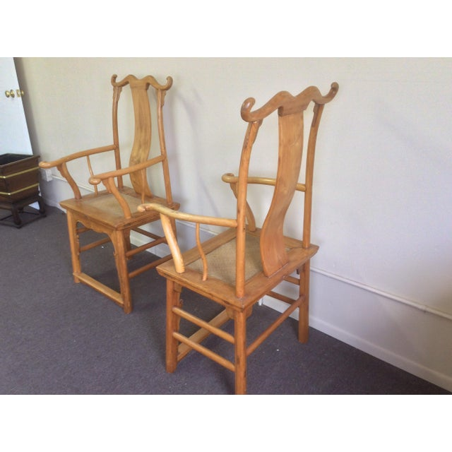 Tan Pair of Antique Chinese Armchairs For Sale - Image 8 of 13
