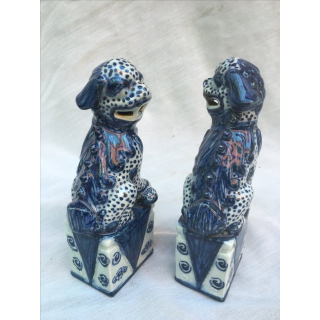 Blue & White Foo Dogs - A Pair - Image 5 of 9