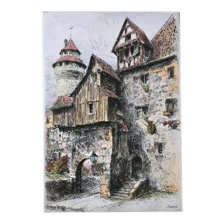 Vintage Original Color Etching by Paul Geissler Town ViewNuremberg Germany For Sale