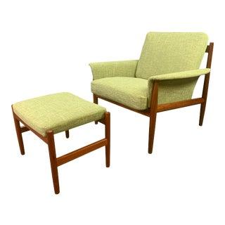 Vintage Danish Mid Century Modern Teak Lounge Chair & Ottoman by Grete Jalk for France & Son - Set of 2 For Sale