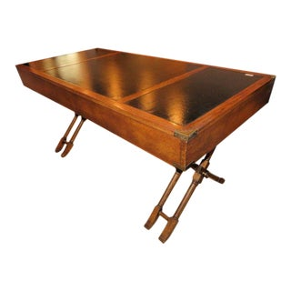 Campaign Brandt Faux Bamboo X Stretcher Base Leather Top Writing Desk For Sale