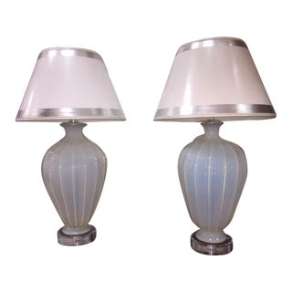 Vintage Murano Opaline Lamps With Lucite Base - A Pair For Sale