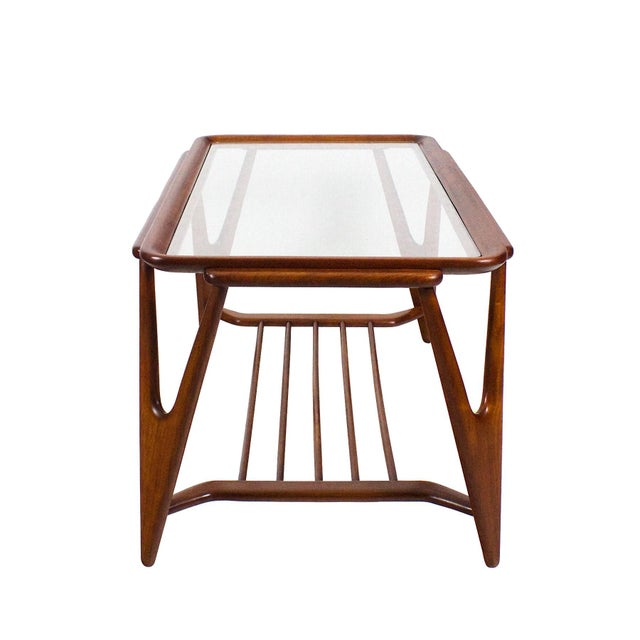 Mid-Century Modern 1945-50 Large Coffee Table, Cherry Wood and Glasses - Italy For Sale - Image 3 of 7