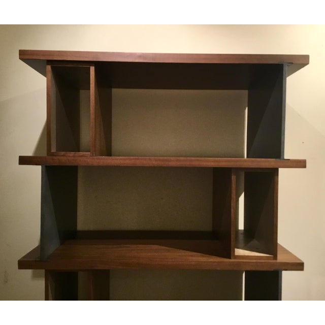 Original Retail $2510, Stylish AD Modern Industrial Modern Metal and Wood Epoque Bookcase, an intriguing combination of...