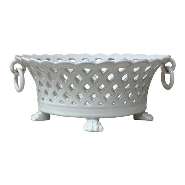 French White Reticulated Basket Emile Tessier, circa 1920 For Sale
