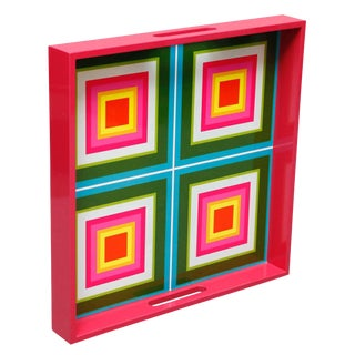 Contemporary Lacquered Wood Tray With Geometric Green/Pink/ White Squares Design For Sale