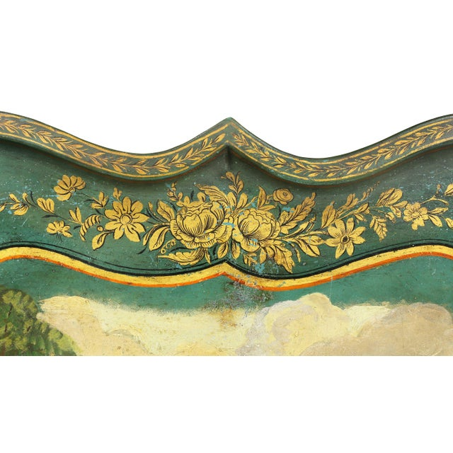 Victorian Green Painted Tole Tray Table For Sale - Image 4 of 11