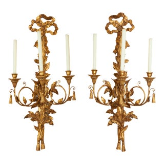 Louis XVI Style Giltwood Three-Light Wall Appliques - a Pair For Sale