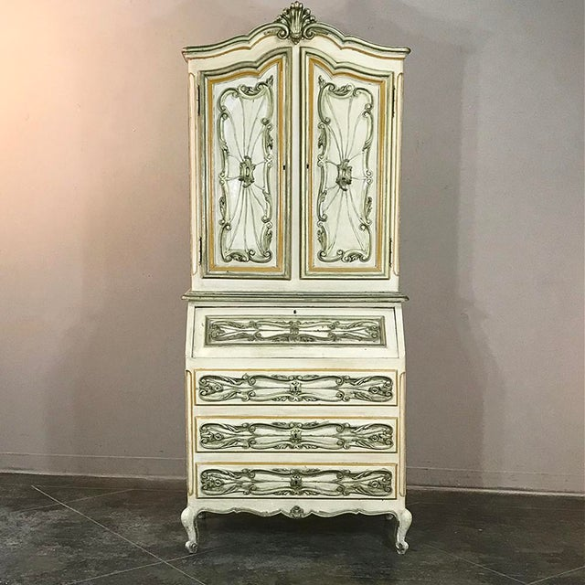 Early 20th Century Italian Hand Painted Secretary ~ Bookcase From Torino, Italy For Sale - Image 5 of 12