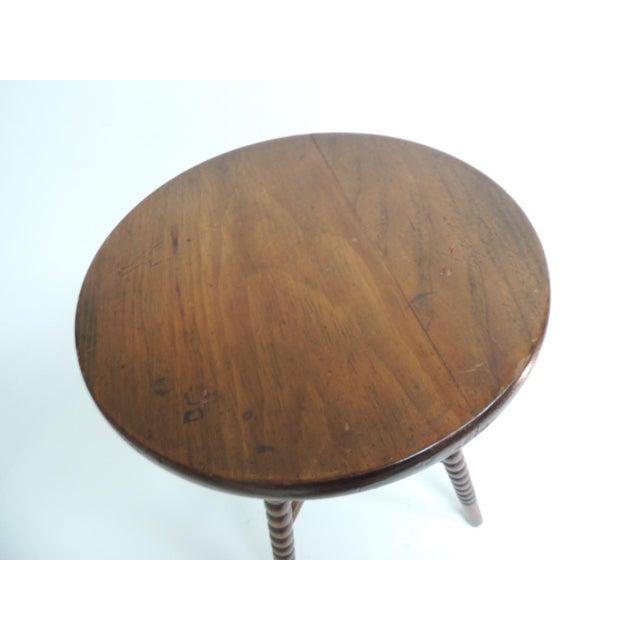 Antique English Small Round Bobbin Leg Four Leg Stool - Image 2 of 5