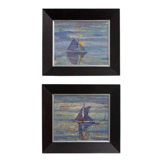 Mid-Century Modern Paintings of Sail Boats American Impressionist - a Pair For Sale