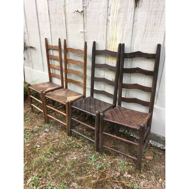Mismatched Ladder Back Country Chairs - Set of 4 For Sale - Image 11 of 12