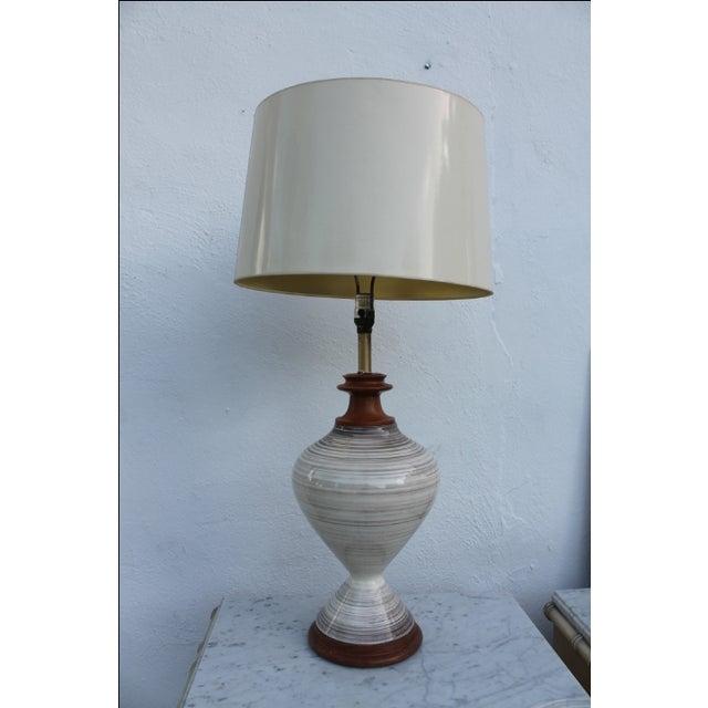 Vintage Mid century Danish Modern glazed ceramic table lamp with teak base. White and brown tones. Excellent vintage...