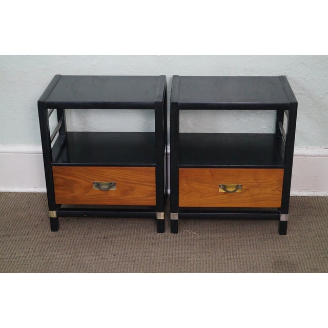 Tung Si Collection Pair of Ebonized Black & Teak Nightstands by Hickory AGE/COUNTRY OF ORIGIN: Approx 50 years, America...