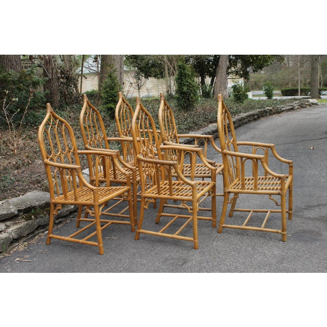 McGuire 1970s McGuire Style Rattan Bamboo Gothic Cathedral Chairs All Arm Chairs - Set of 2 For Sale - Image 4 of 12