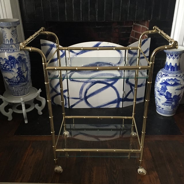 Hollywood Regency Brass Faux Bamboo & Glass Rolling Bar Cart - Image 2 of 11
