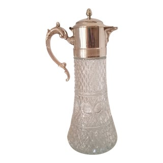 Antique Italian Cut Crystal & Silver Plate Wine Carafe W/ Ice Insert For Sale