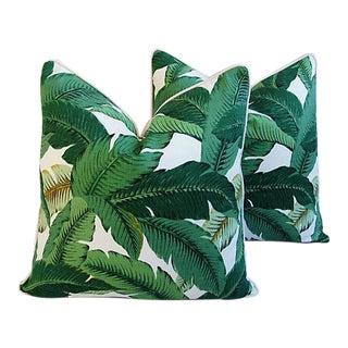 "24"" Custom Tailored Tropical Lush Banana Leaf Feather/Down Pillows - Pair"