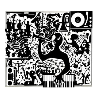 "Black and White Jazz Age Mixed-Media Painting, ""The Musicians Dream"", 1961 For Sale"