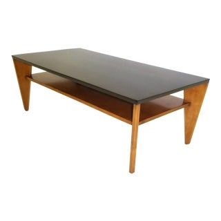 1940s Vintage Russel Wright for Conant Ball Blond Birch and Ebonized Top Coffee Table For Sale
