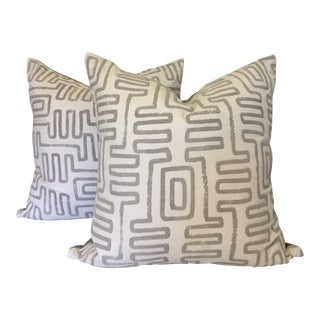 Gray and White Embroidered Pillows - A Pair For Sale