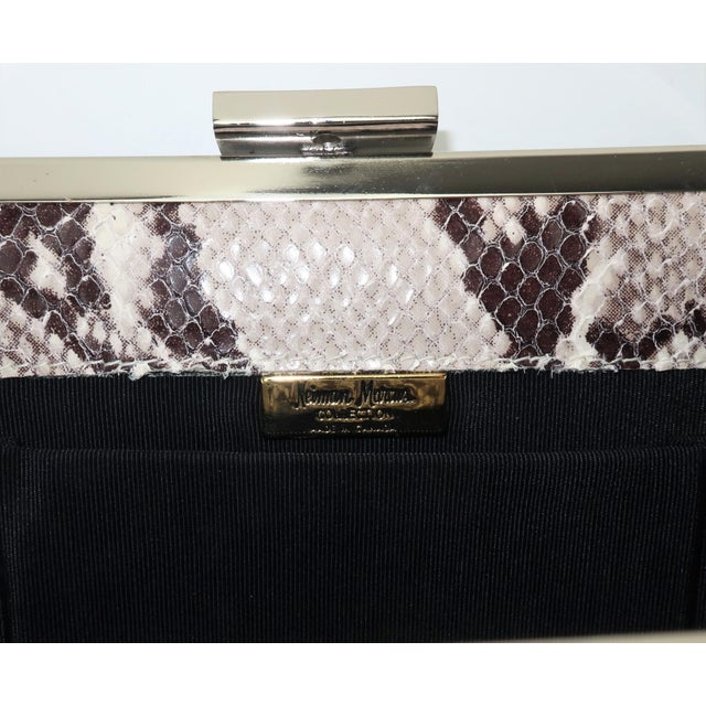 Vintage Neiman Marcus Python Printed Leather Handbag With Silver Handle For Sale - Image 9 of 12