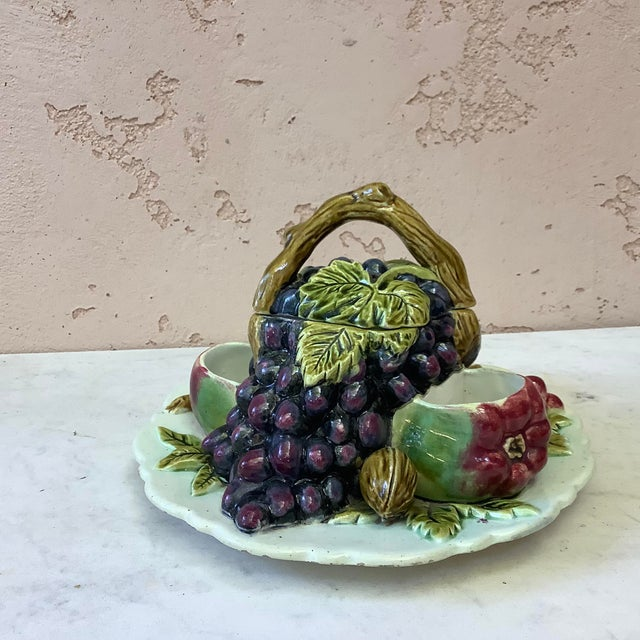 Large French fruits trompe l'oeil lidded server circa 1880. Grapes,plums,nuts,pears and apple. North of France maybe Orchies.