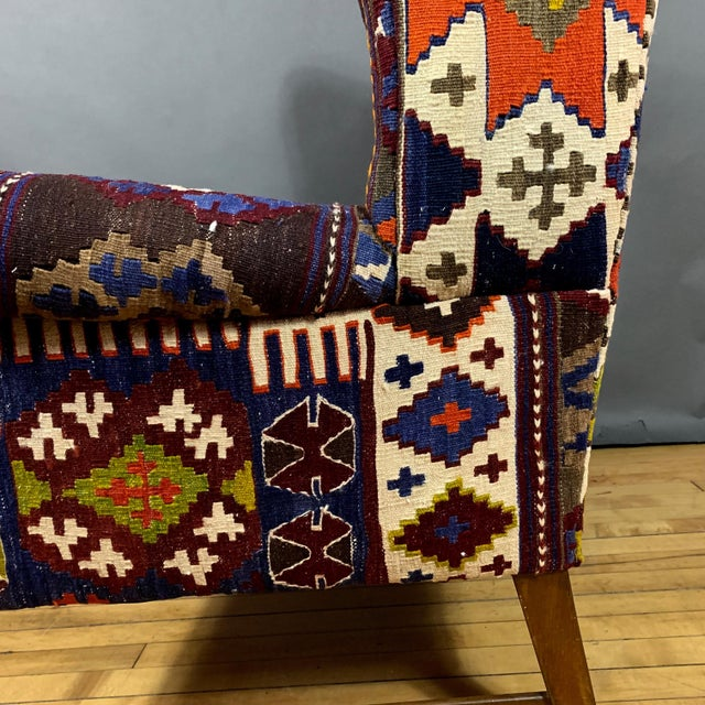 Blue 1940s Danish Wingchair, Semi-Antique Turkish Kilim Cover For Sale - Image 8 of 12
