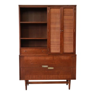 Merton Gershun for American of Martinsville Walnut Wall Unit of Dining Cabinet