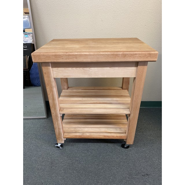 Design Plus Gallery presents a Butcher Block Cart by Catskill Craftsman. Framed in solid wood with a natural oil rubbed...