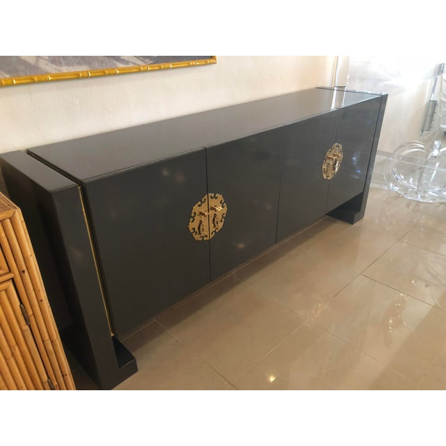 Vintage Hollywood Regency Century Furniture Grey Lacquered Brass Credenza Buffet Sideboard For Sale - Image 13 of 13