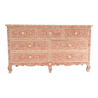 Boho Chic Style Bone Inlay Pink Dresser