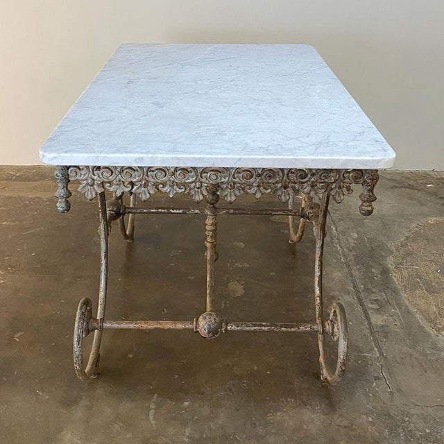 19th Century Iron Marble Top Confectioner's Table For Sale - Image 12 of 13