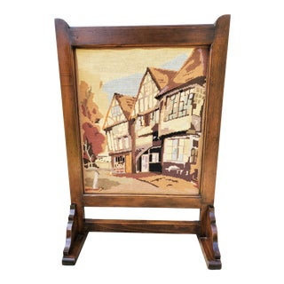 Antique Oak Arts & Crafts / Mission Craftsman Needle Point Fire Screen For Sale