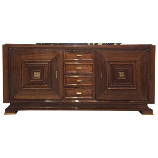 French Art Deco Buffet with Marble Top For Sale
