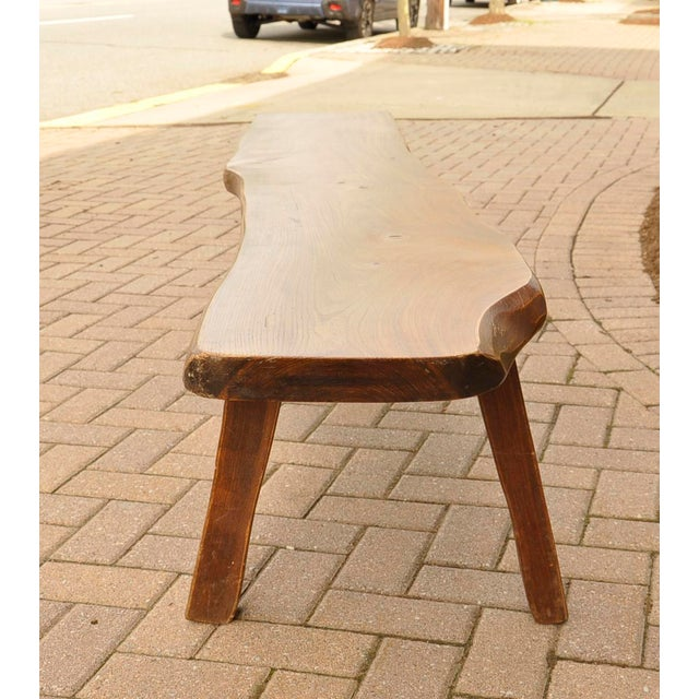 Redwood French Live-Slab Top Bench For Sale - Image 7 of 7