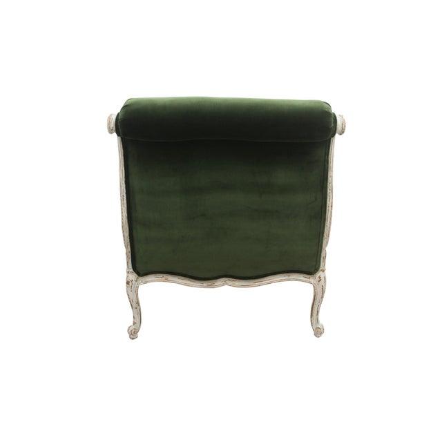 Mission Avenue Studio Vintage Mid Century French Provincial Green Velvet Slipper Chairs- A Pair For Sale - Image 4 of 8