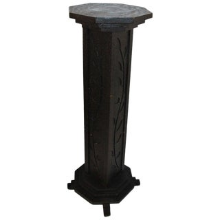 19th Century Folk Art Carved Pedestal in Original Surface For Sale