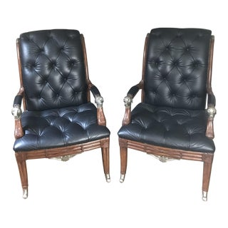 Maitland Smith Tufted Leather Silver Dog Chairs - a Pair For Sale
