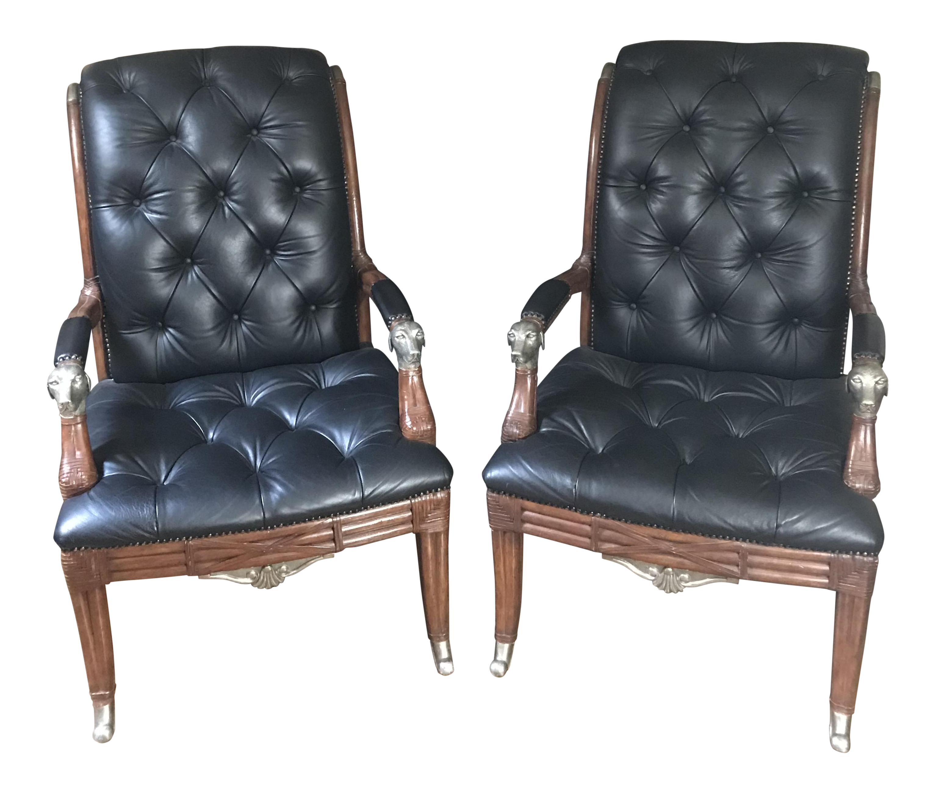 Maitland Smith Tufted Leather Silver Dog Chairs   A Pair   Image 1 Of 11