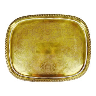 Vintage Large Reticulated and Etched Brass Serving Tray For Sale