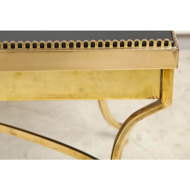 Mid 20th Century Brass Coffee Table with Smoked Glass and Galleried Top For Sale - Image 5 of 8