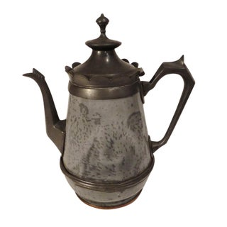Early 19th Century Pewter and Granite Coffee Pot, Dated 1818 For Sale